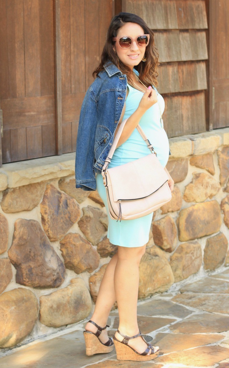 The cutest light blue dress and blush colored purse