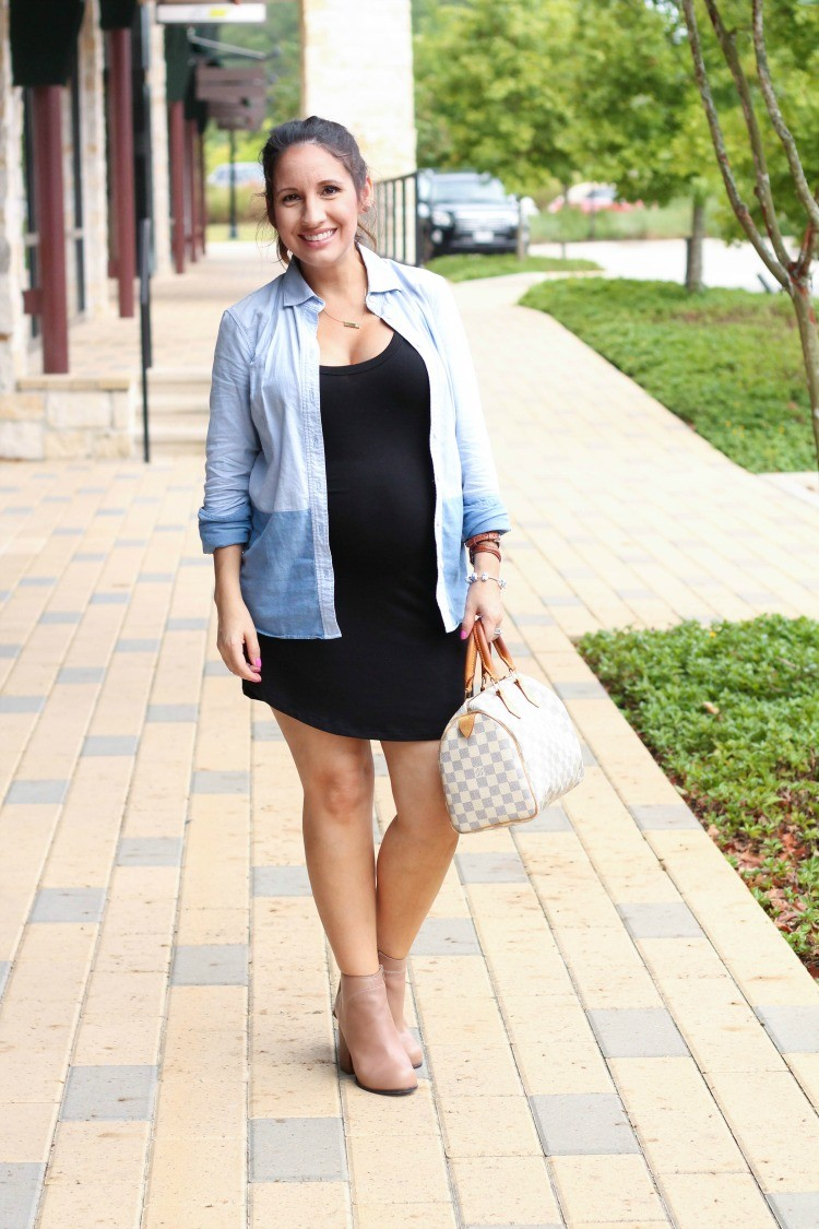 Blue button down, LBD, and the cutest nude Jeffrey Campbell booties