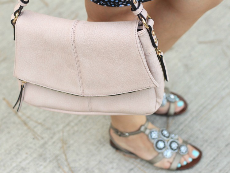 Light pink Urban Expressions handbag and silver sandals