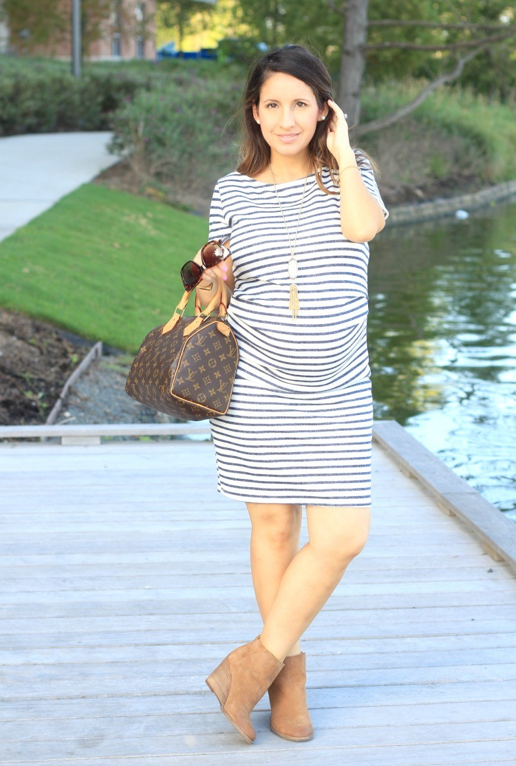 Pink Blush Maternity Ivory Navy Blue Striped Fitted Short Sleeve Maternity Dress