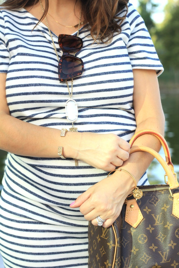 Pretty In Her Pearls Bauble Bar necklace, layered with Kendra Scott necklace, and Alex and Ani Bracelet