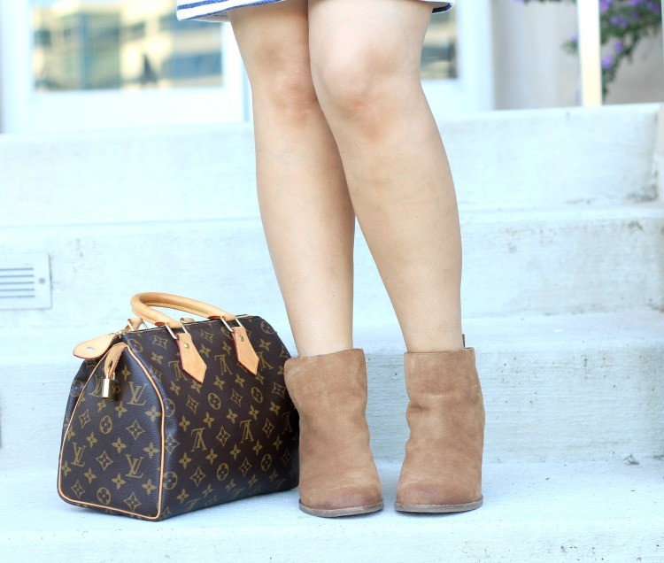 Pretty In Her Pearls Lucky Brand Booties, and Louis Vuitton Bag