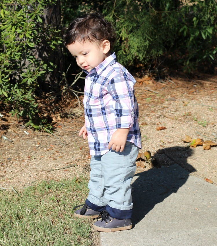 Gymboree toddler boy style. Plaid pink and blue down, grey pants, and navy shoes