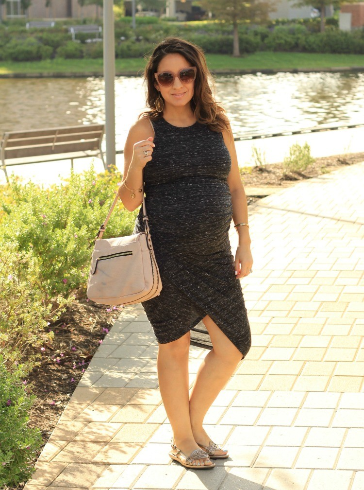 Pretty In Her Pearls wearing Motherhood Maternity Must have dress in grey