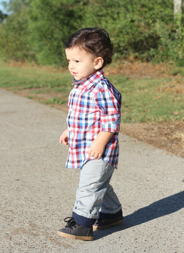 Toddler boy style in Gymboree plaid button down, grey pants, and navy shoes