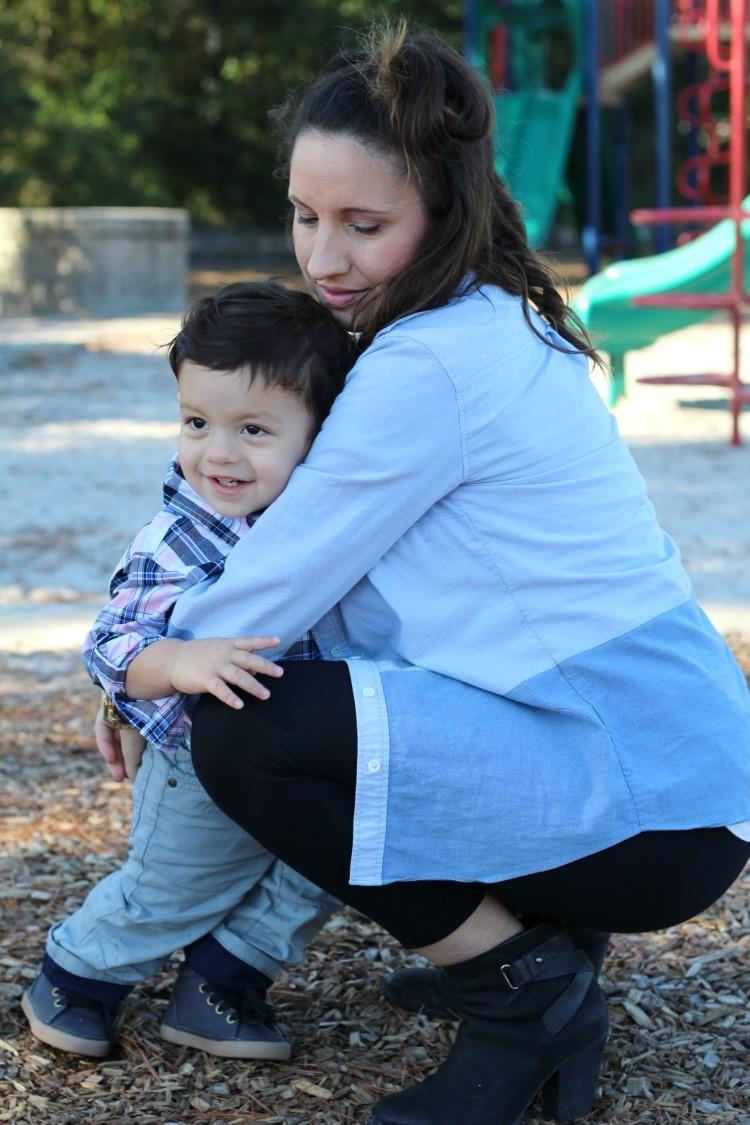 Toddler baby boy hugs in Gymboree