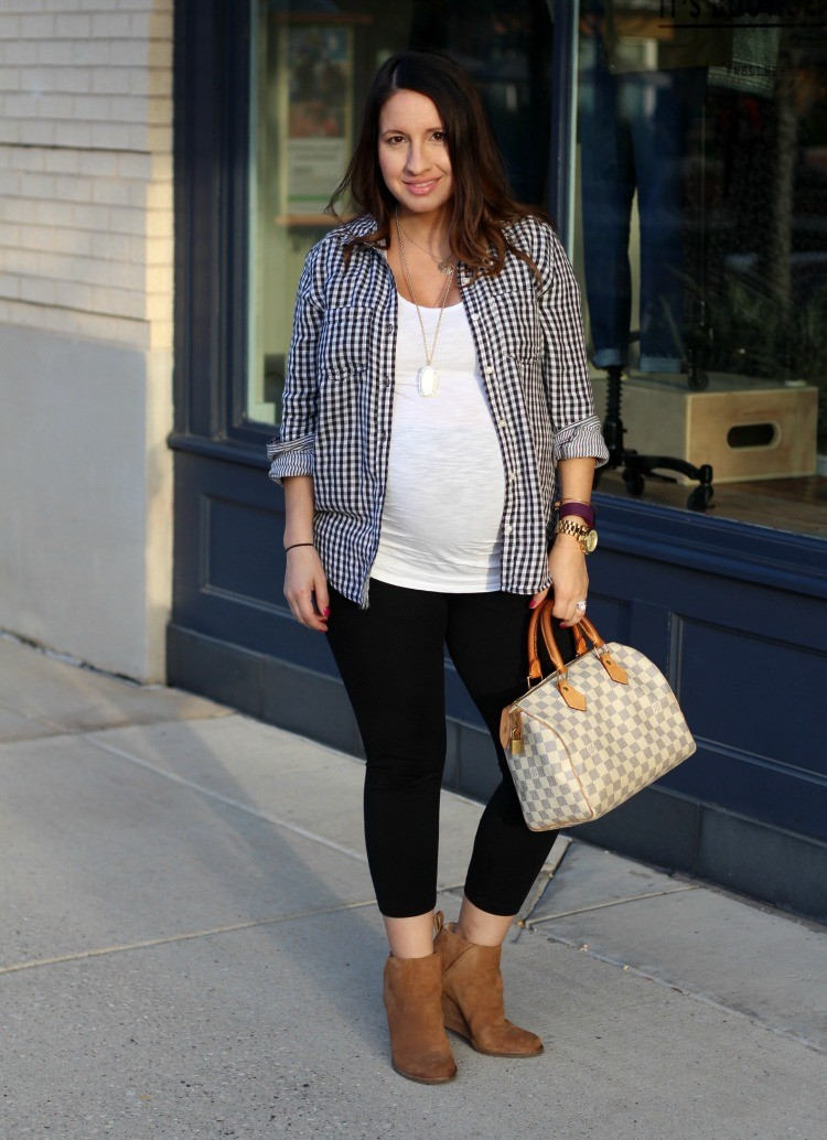 Black and white gingham top, leggings. and booties