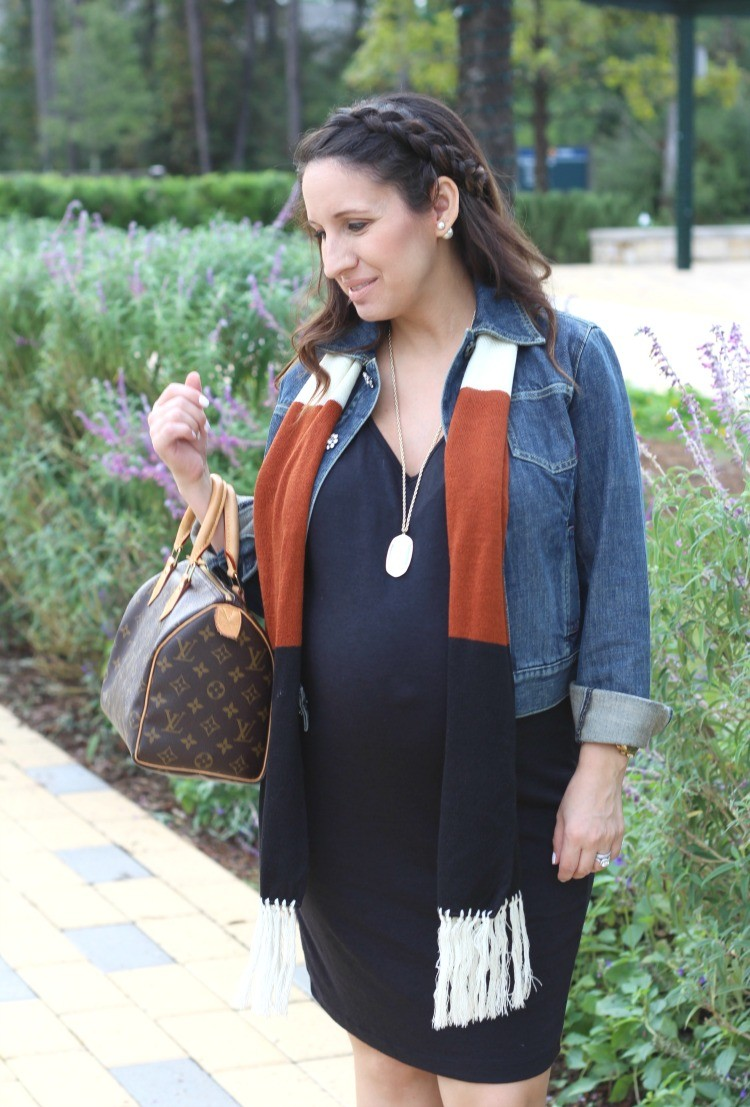 LBD and the perfect denim jacket and scarf