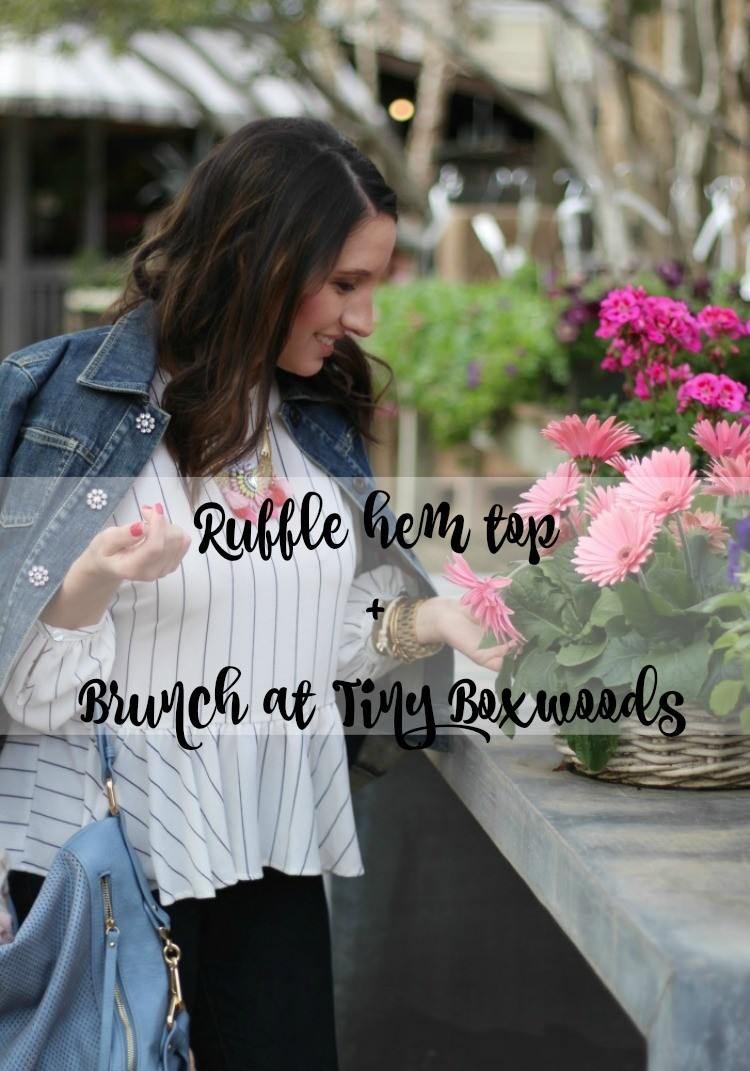 Ruffle hem top + Brunch Review at Tiny Boxwoods, Pretty In Her Pearls, Petite Style Blogger, Houston Fashion