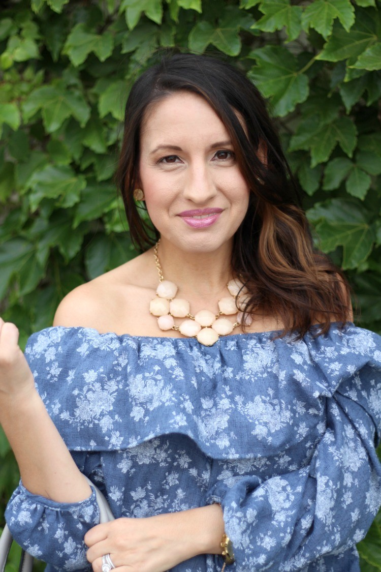 Lane 201 Floral Denim Off The Shoulder Top, s, Pretty In Her Pearls, Houston Style, Petite Blogger