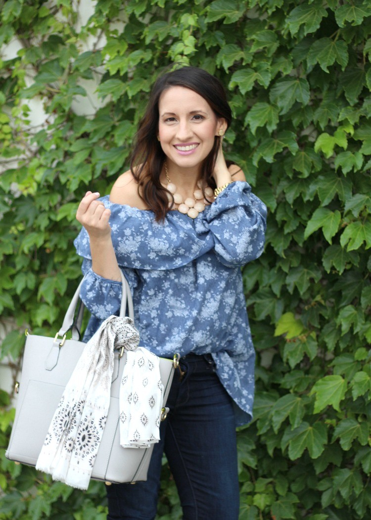 Mommy and me date with Sofi, Lane 201 Floral Denim Off The Shoulder Top, Pretty In Her Pearls, Houston Style, Petite Blogger