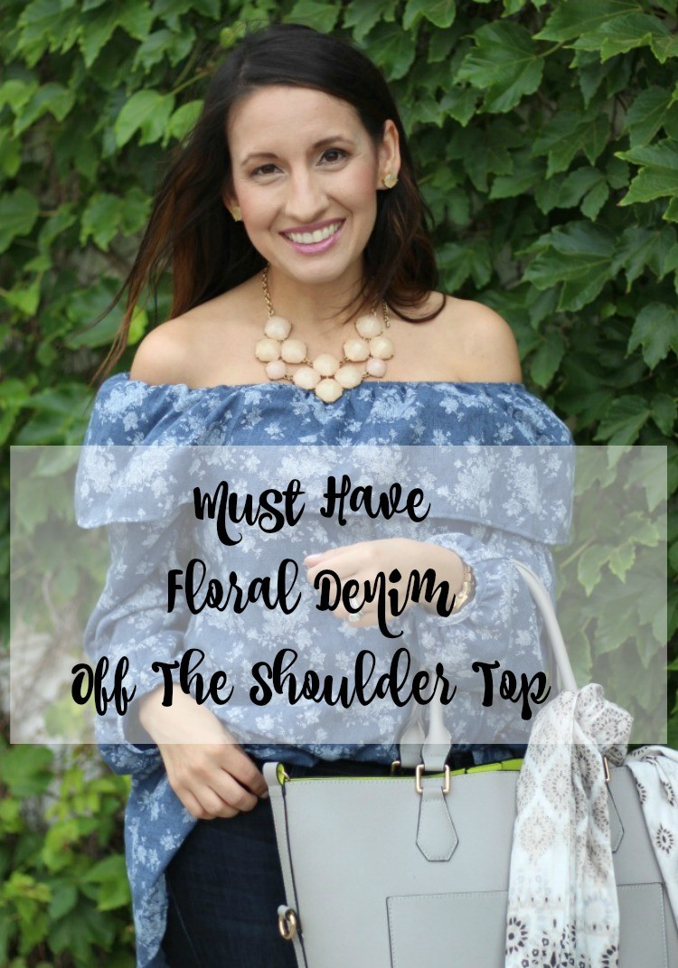 Must Have Floral Denim Off The Shoulder Top   Lane 201 Boutique   Pretty In Her Pearls   Petite Blogger   Houston Blogger