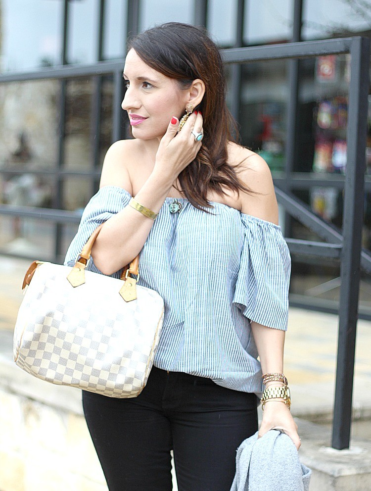 Off the shoulder top on major repeat pretty in her pearls Fashion style 101 blogspot