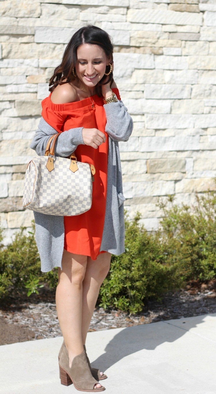 Red Ruffle Off The Shoulder Shift Dress with the perfect long cardigan and booties, Pretty In Her Pearls, Houston Style, Petite Blogger
