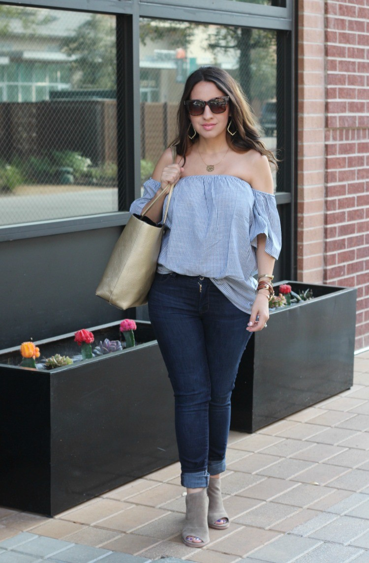 Romwe Off-The-Shoulder Vertical Striped Blouse, Pretty In Her Pearls, Petite Style Blogger