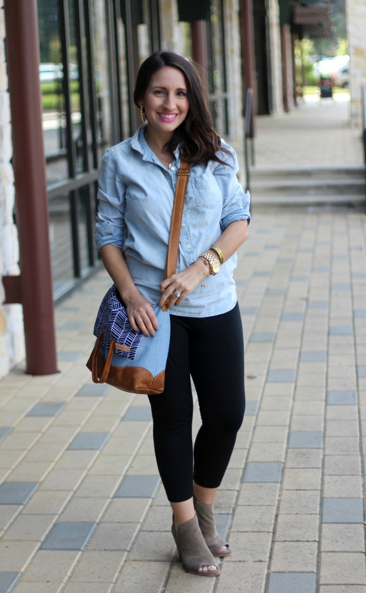 Chambray top and leggings, Pretty In Her Pearls, Petite Style Blogger