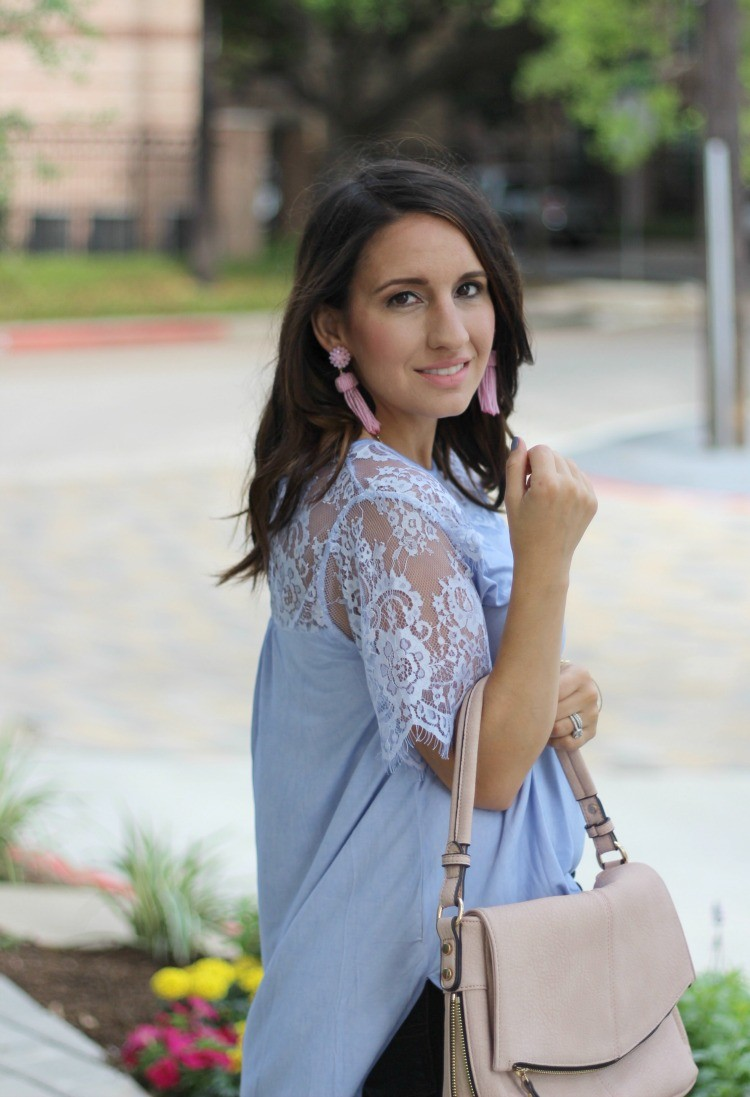 Filly Flair Lace Top | Must have spring top | Laid back Easter style | Lisi Lerch earrings | Pretty In Her Pearls | Petite Blogger | Houston Style Blogger