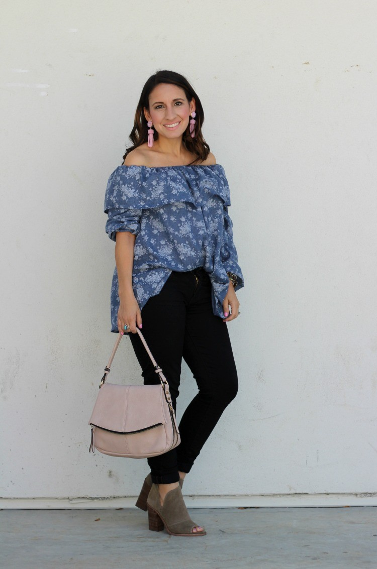 Lane 201 Boutique DENIM FLORAL OFF THE SHOULDER TOP | Houston Blogger | Petite Blogger | Pretty In Her Pearls