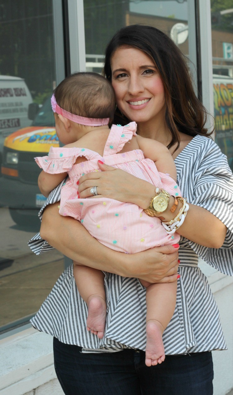 Mommy and me outfit, Romwe Black And White Stripe Bow Wrapped Blouse, Spring style, Houston Blogger, Petite Blogger, Pretty In Her Pearls