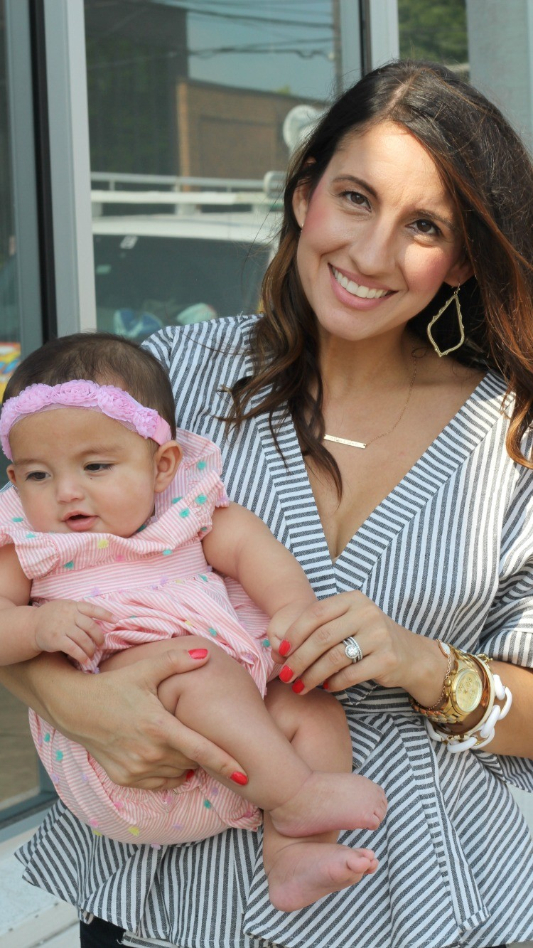 Mommy and me outfits, Romwe Black And White Stripe Bow Wrapped Blouse, Spring style, Houston Blogger, Petite Blogger, Pretty In Her Pearls