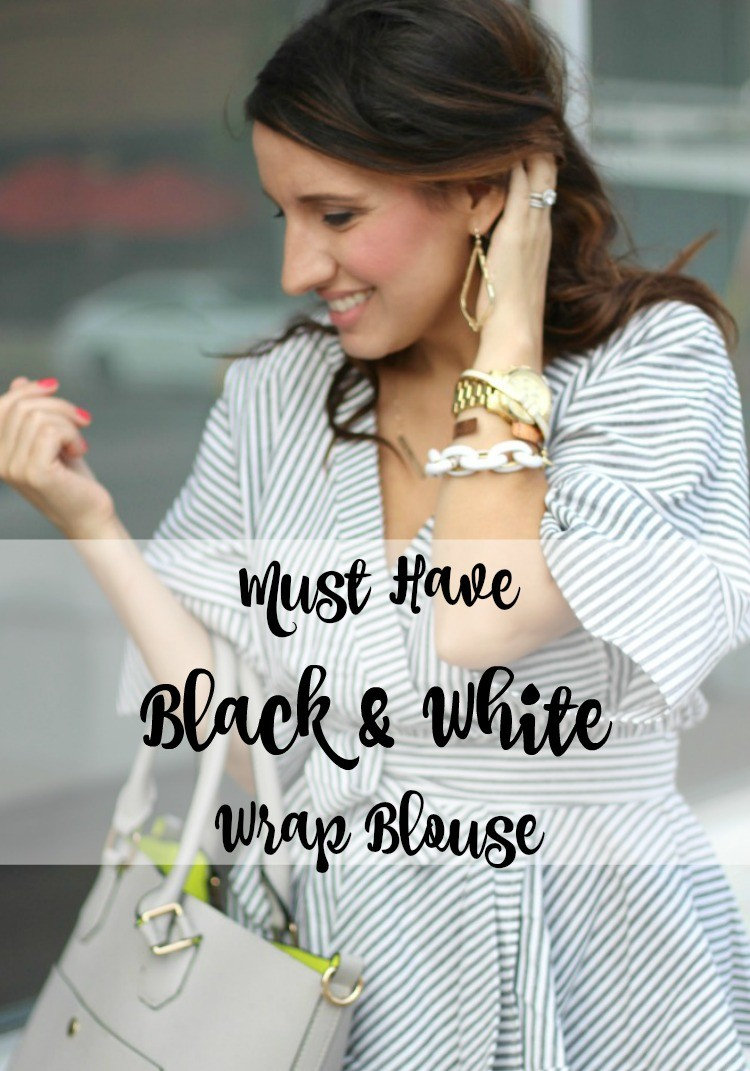 Must have black & white wrap blouse under $25,Romwe Black And White Stripe Bow Wrapped Blouse, Spring style, Houston Blogger, Petite Blogger, Pretty In Her Pearls