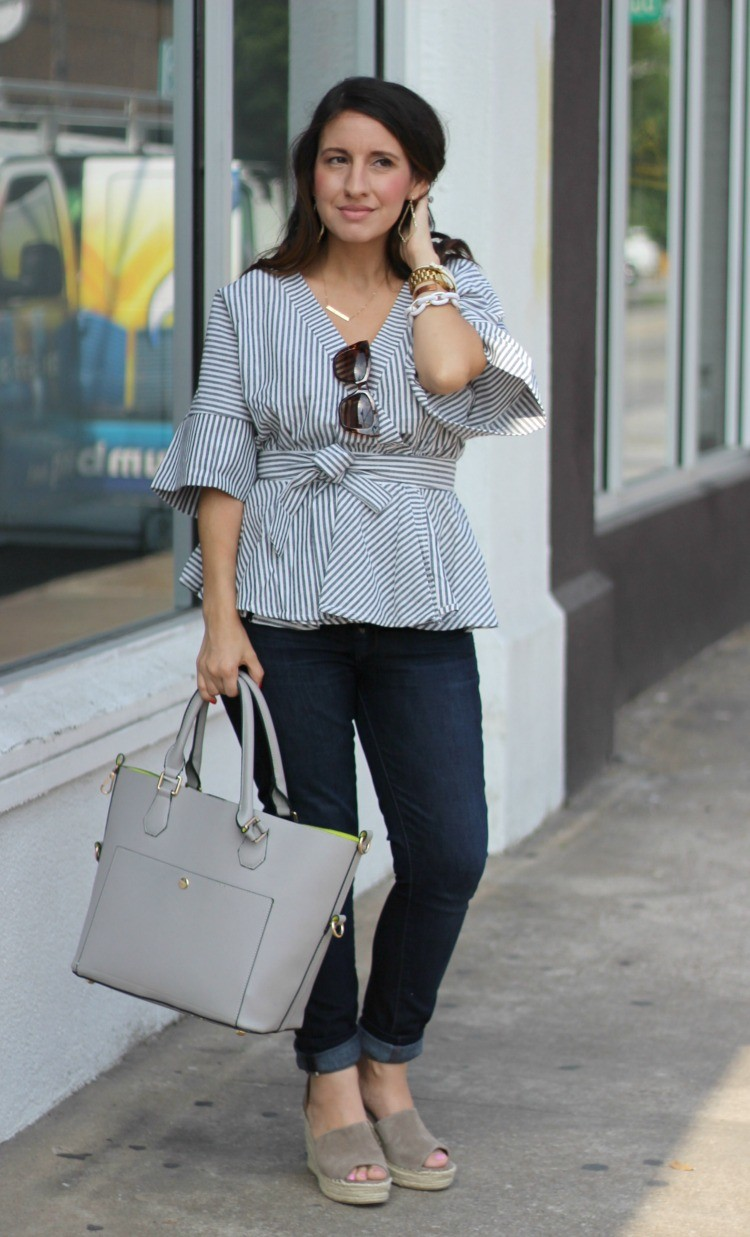 Must have spring top, Romwe Black And White Stripe Bow Wrapped Blouse, Spring style, Houston Blogger, Petite Blogger, Pretty In Her Pearls