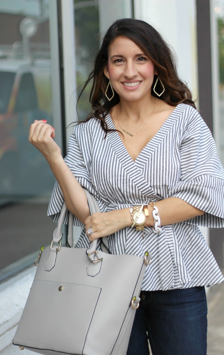 Romwe Black And White Stripe Bow Wrapped Blouse, Spring style, Houston Blogger, Petite Blogger, Pretty In Her Pearls
