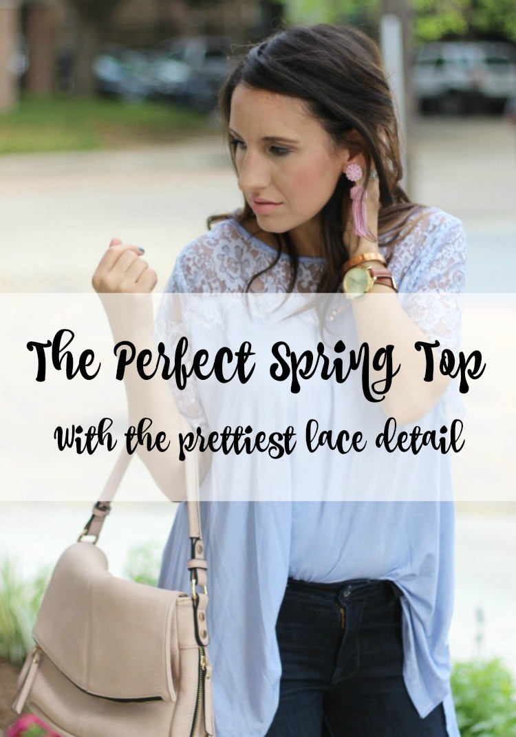 The Perfect Spring Top | Filly Flair Lace Top | Must have spring top | Laid back Easter style | Lisi Lerch earrings | Pretty In Her Pearls | Petite Blogger | Houston Style Blogger