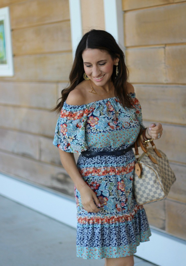 Charles Henry Off the shoulder dress, Pretty In Her Pearls, Houston Blogger, Petite Blogger
