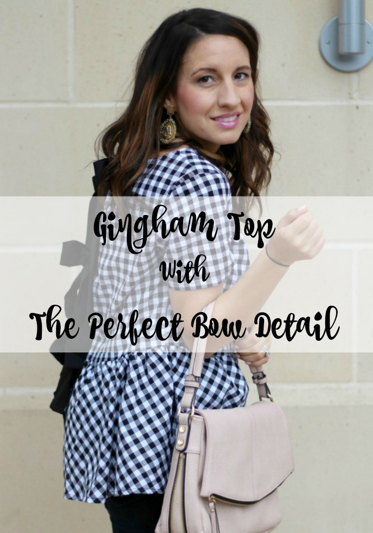 Gingham top with the perfect bow details, Pretty In Her Pearls, Houston Blogger, Petite Blogger