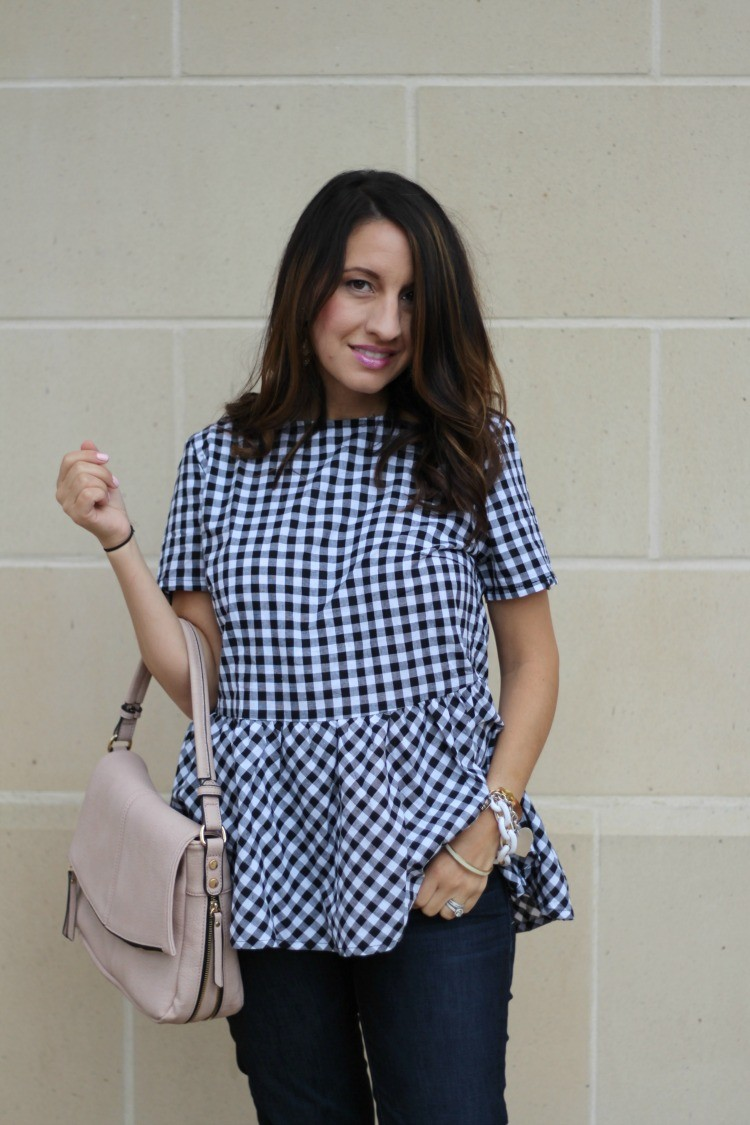 Must Have black and white gingham ruffle top, Pretty In Her Pearls, Petite Blogger, Houston Blogger