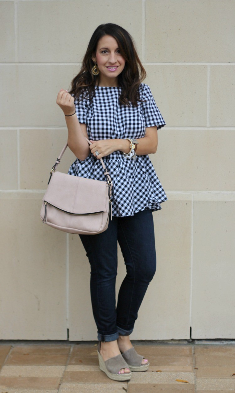 Must have gingham ruffle top, Spring style, Pretty In Her Pearls, Houston Blogger, Petite Style