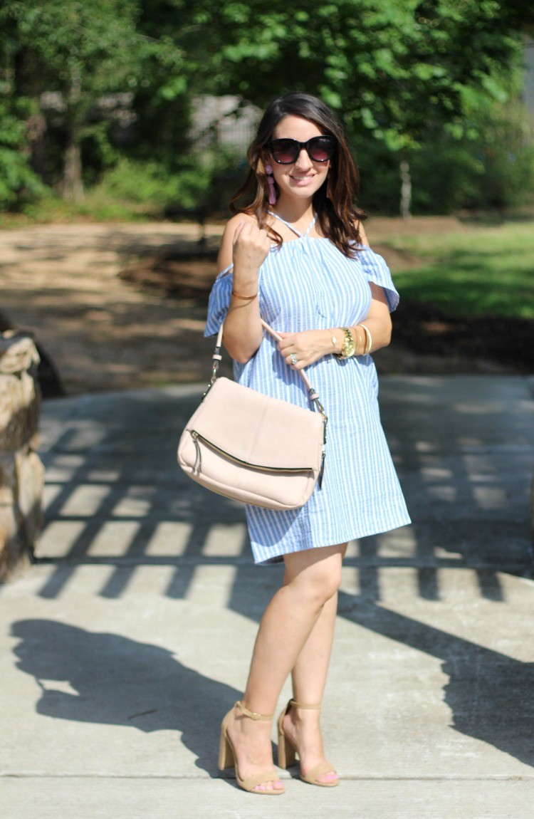 The Perfect Dress for Memorial Day that's under $50, Lush stripe off the shoulder dress, Pretty In Her Pearls, Petite Style Blogger