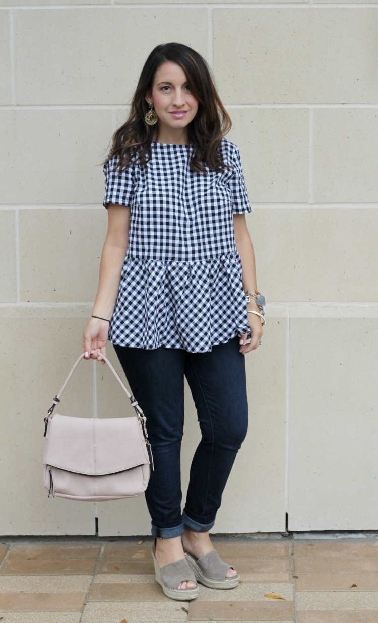 Must have gingham ruffle top, Pretty In Her Pearls, Houston Blogger, Petite Blogger