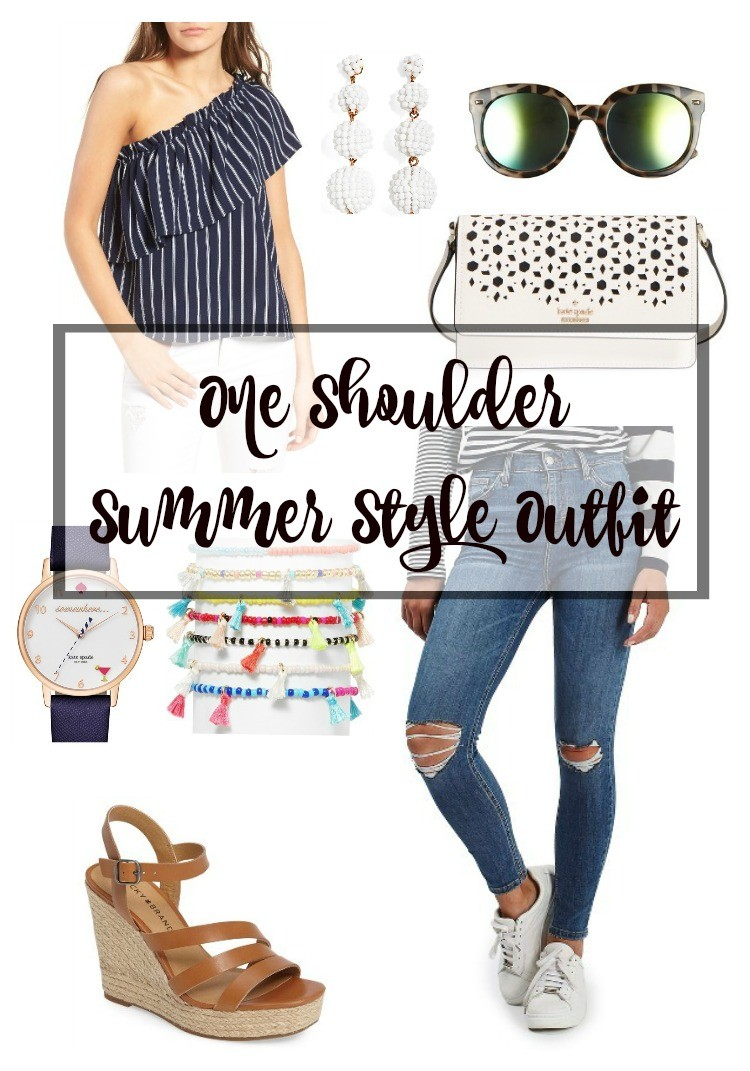 One Shoulder Summer Style Outfit, Pretty In Her Pearls. Houston Blogger, Petite Blogger