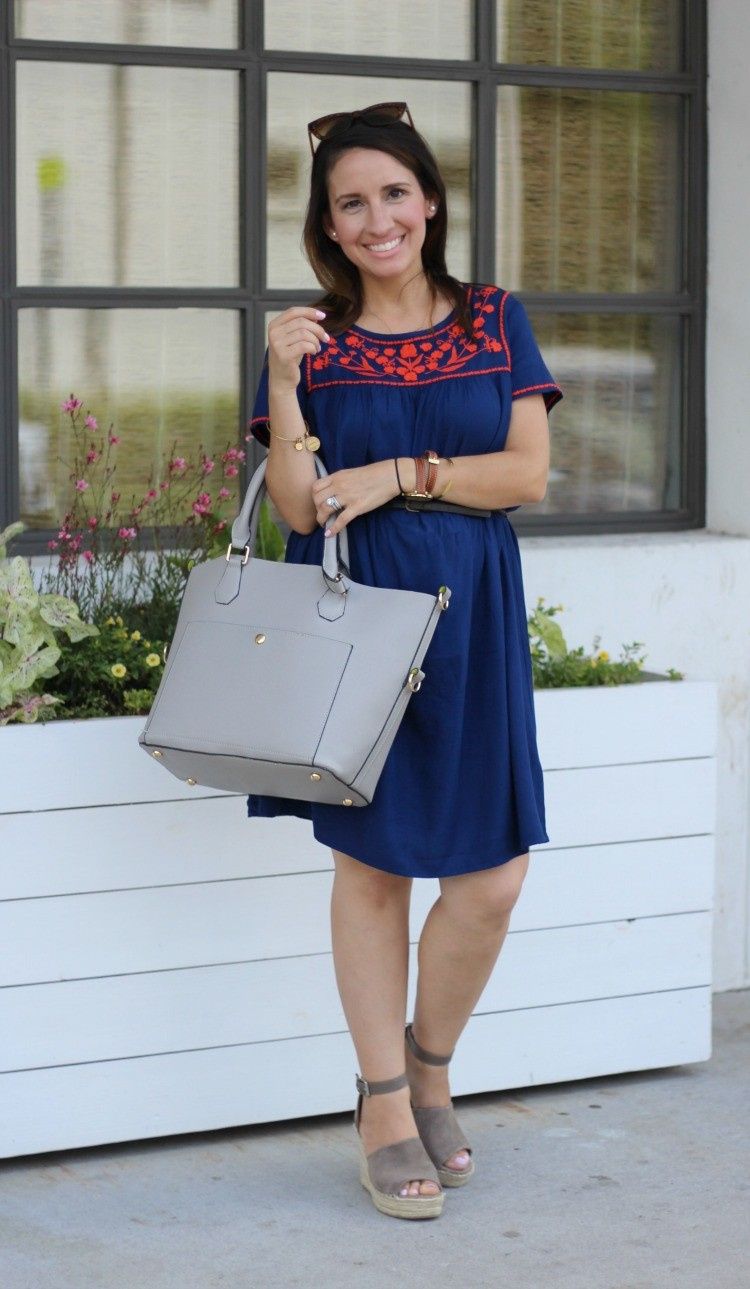EMBROIDERED SHIFT DRESS , Pretty In Her Pearls, Petite Style Blogger