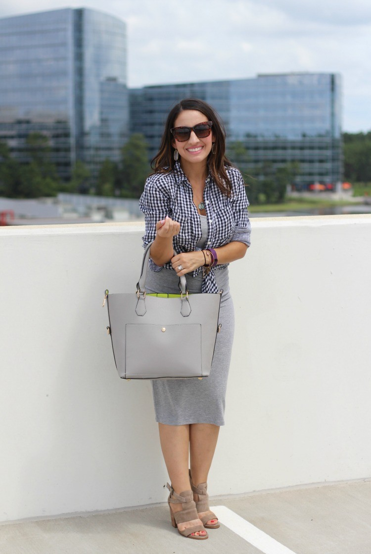 Classic Summer Outfit, Gingham top, grey dress, and nude heels, Pretty In Her Pearls, Petite Style Blogger