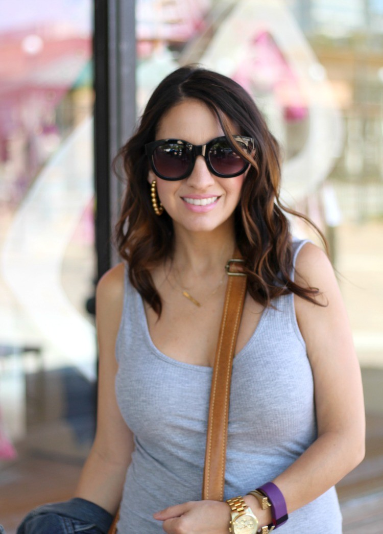 Basic grey dress and Better Life Bags, Pretty In Her Pearls, Petite Style Blogger, Houston Fashion