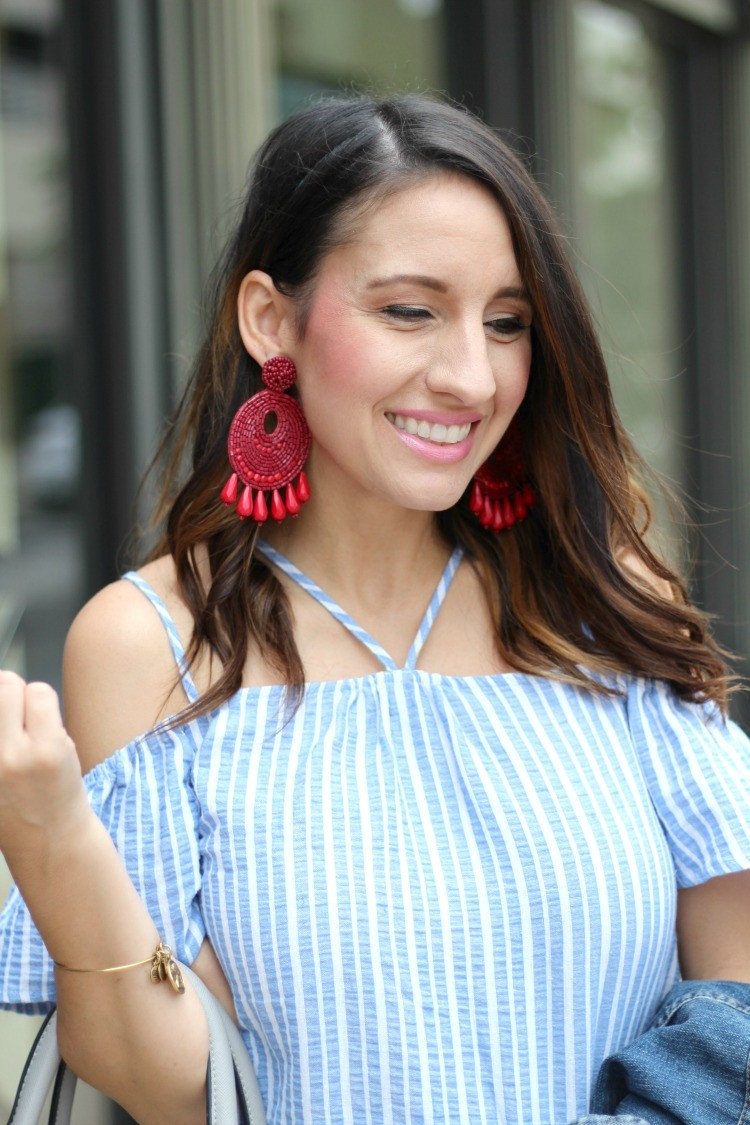Statement Earrings, Fourth of July Red, white, and blue Outfit, Pretty In Her Pearls, Petite Style Blogger