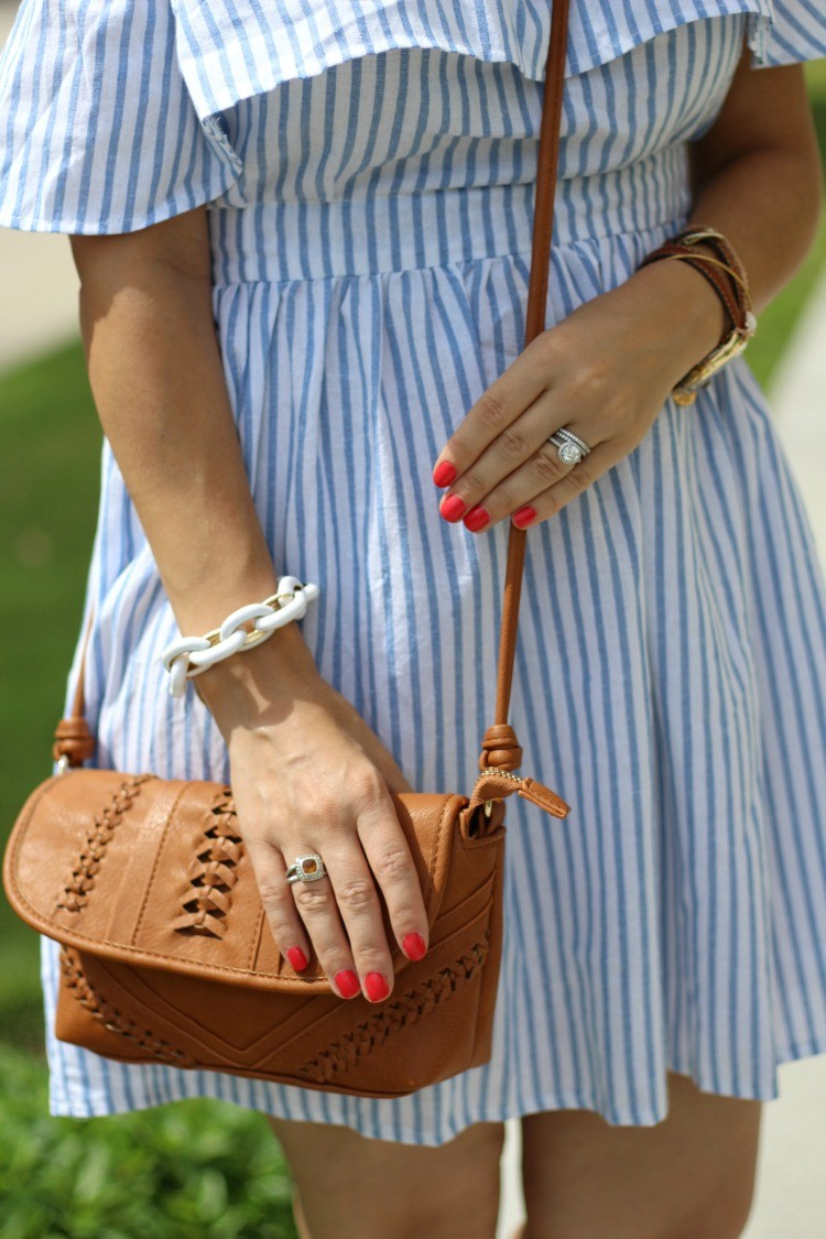 Urban Expressions Tan Crossbody, Preppy off the shoulder dress, Pretty In Her Pearls, Houston Blogger, Petite Style Blogger