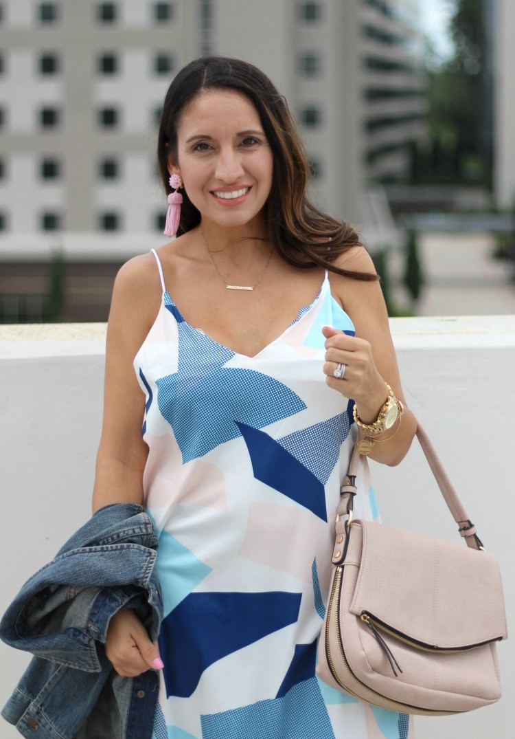 Blue and pink slip dress, Pretty In Her Pearls, Petite Style Blogger