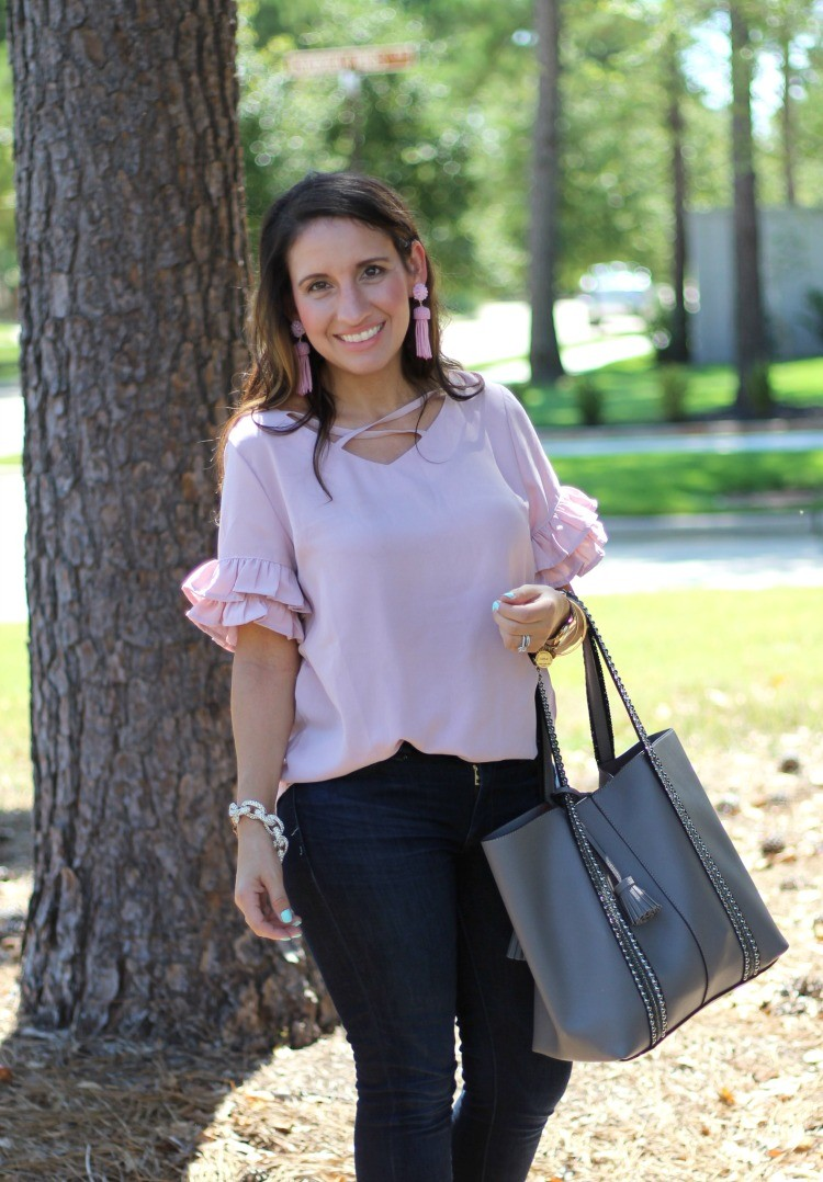 Crisscross V Neck Layered Ruffle Sleeve Top, Pretty In Her Pearls