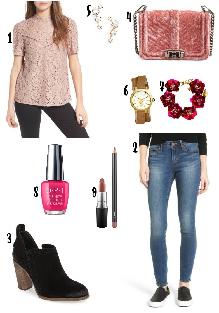 Blush colored lace top, and skinny jeans, Pretty In Her Pearls, Petite Blogger