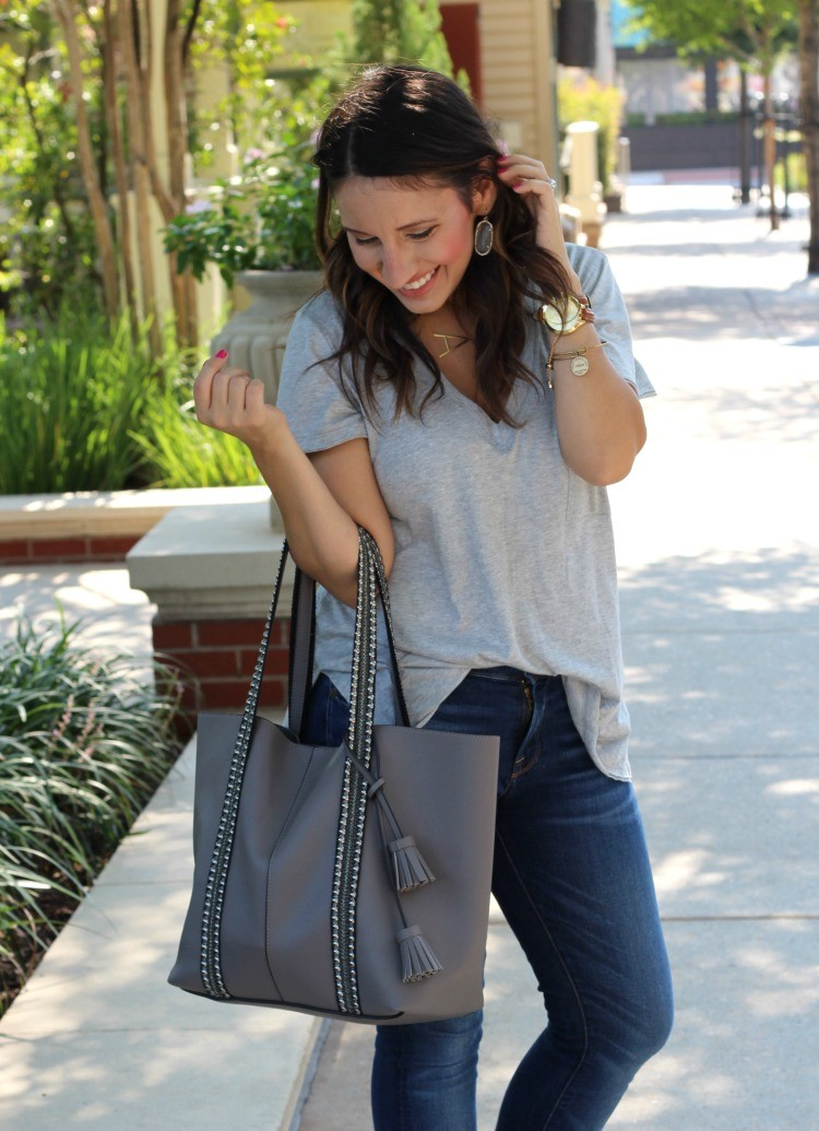 The best grey t-shirt, Pretty In Her Pearls, Style Blogger, Petite Style Blogger