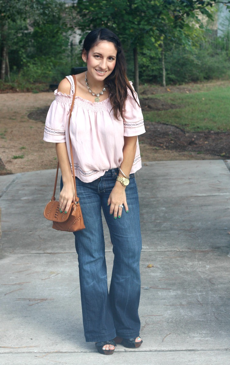 Cold shoulder top, flare jeans, and brown crossbody handbag, Pretty In Her Pearls, Style Blogger, Petite blogger,
