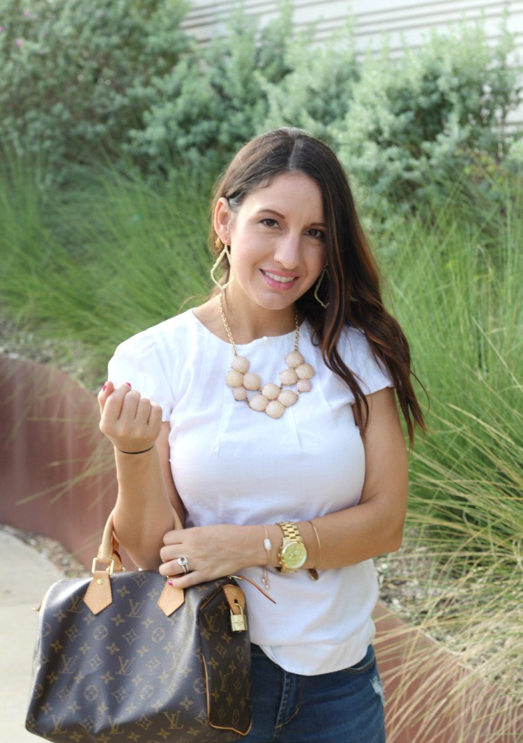 Basic white top, distressed jeans, and nude heels, Pretty In Her Pearls, Petite Blogger