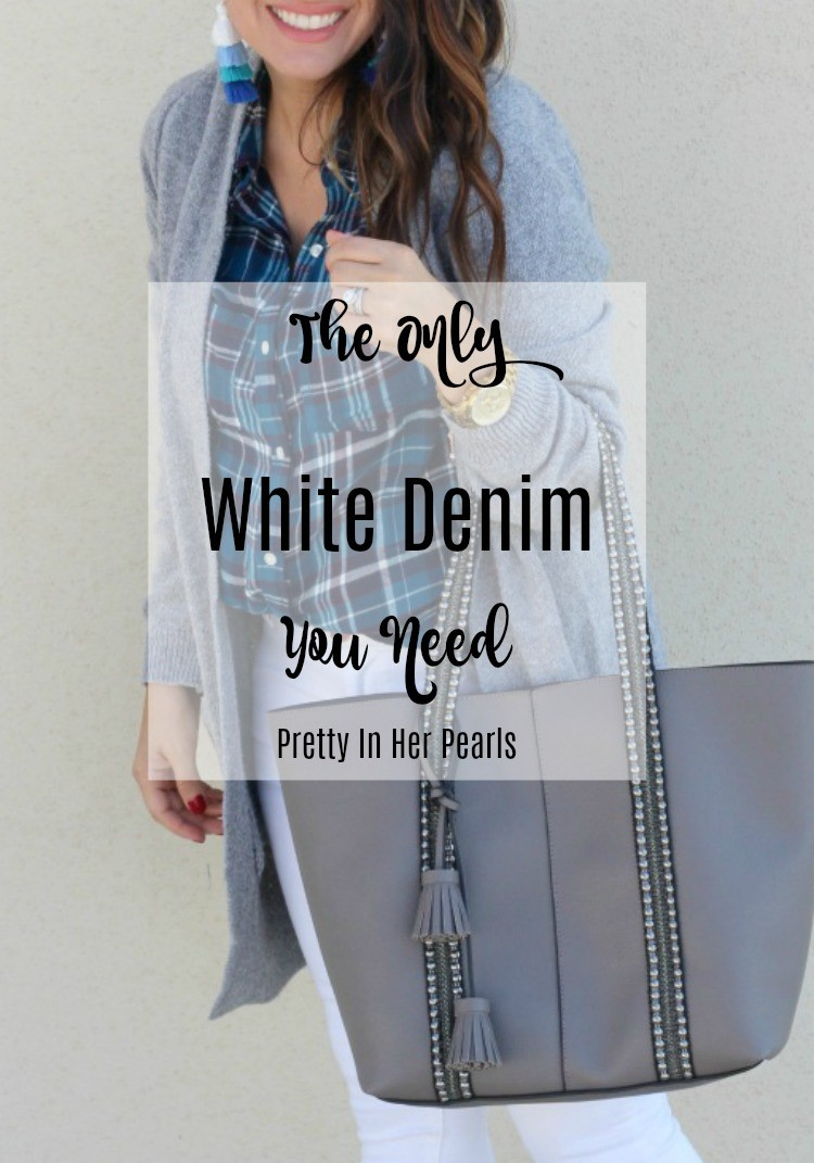 The Only White Denim You Need, Casual fall style, Gray cardigan, plaid button down, and white jeans, Pretty In Her Pearls, Style Blogger, Petite Blogger, #OLDNAVY #Petiteblogger