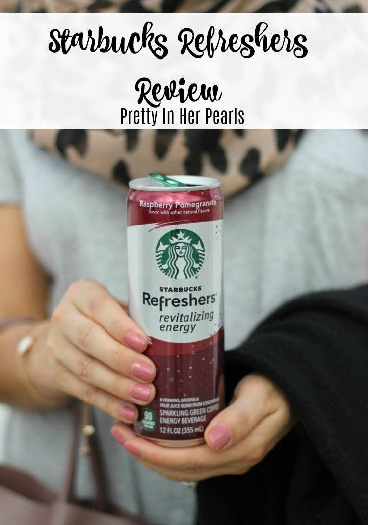Amazon Prime Starbucks Refresher Review, Leopard Scarf, Fall Outfit, Pretty In Her Pearls. Style Blogger, Petite Blogger, Starbucks Refresher Review