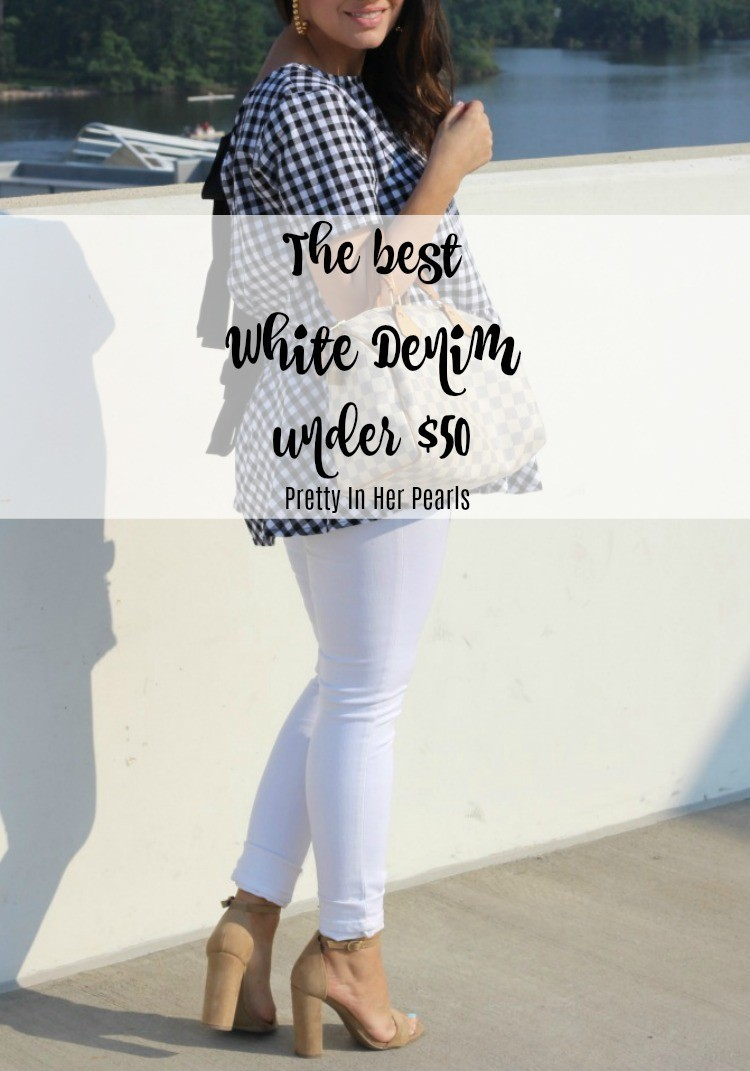 The best white denim under $50, Pretty In Her Pearls, Petite Blogger,