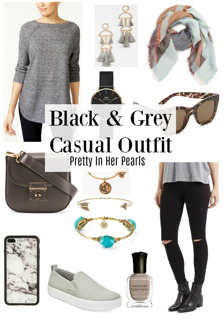 Black & Grey Casual Outfit, Casual Outfit, Outfit, Style Blogger, Pretty In Her Pearls #Houstonblogger #falloutfit #casualoutfit